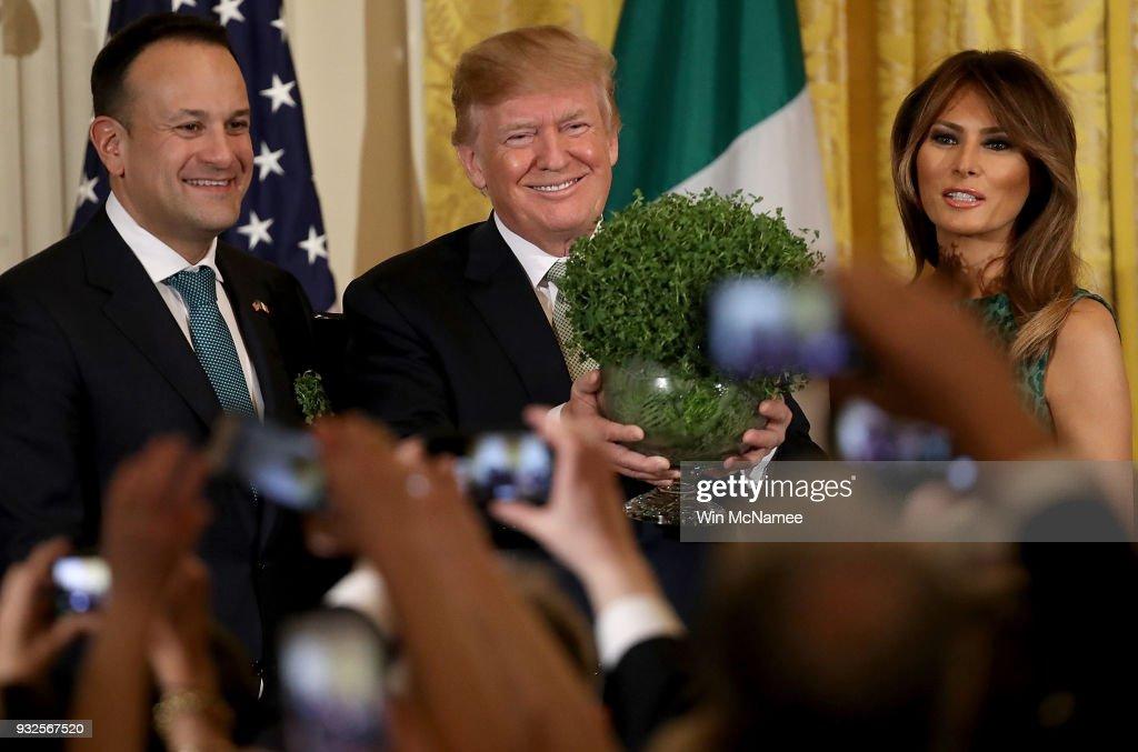 President Trump Participates In Shamrock Bowl Presentation By Irish PM