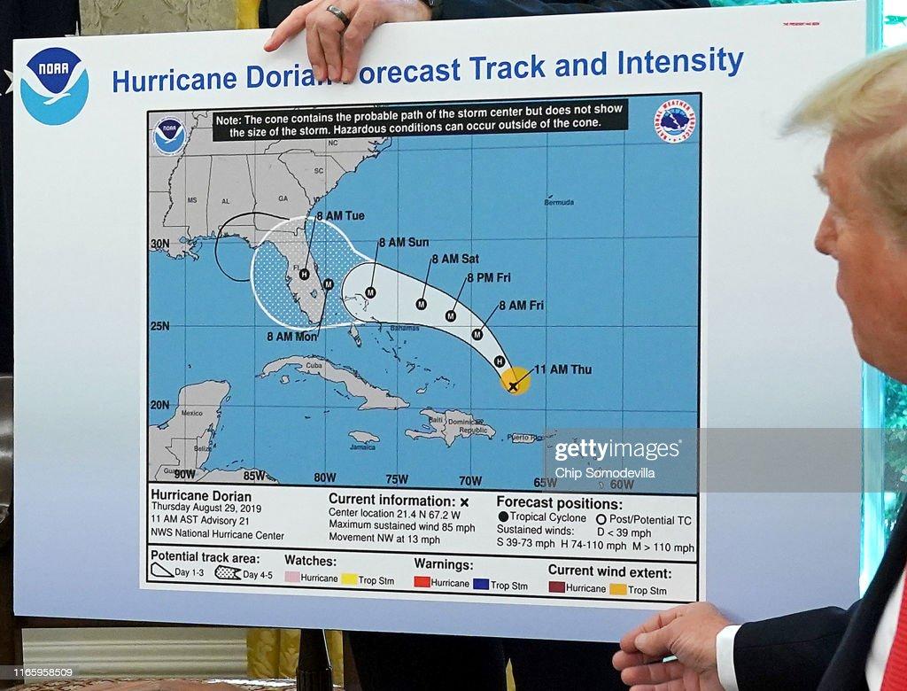 President Trump Receives Briefing On Hurricane Dorian At White House : News Photo