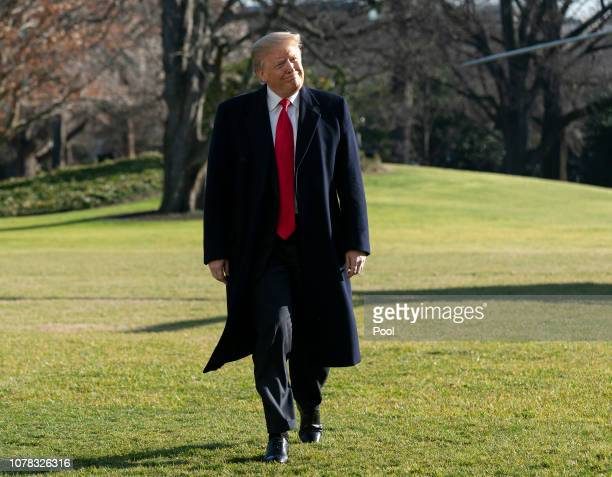 President Donald Trump returns to the White House after a day trip to Camp David on January 6, 2019 in Washington, DC.