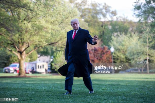 President Donald Trump returns to the White House following a trip to Burnsville Minnesota on April 15 2019 in Washington DC