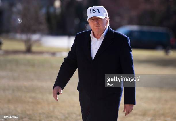 US President Donald Trump returns to the White House following a weekend trip with Republican leadership and members of his cabinet at Camp David on...