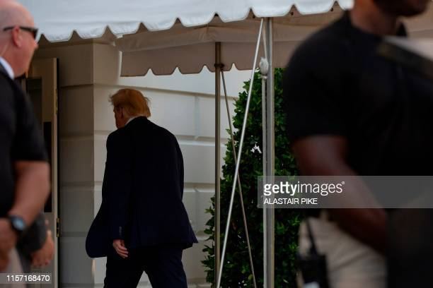 US President Donald Trump returns to the White House on July 21 2019 in Washington DC Trump is returning to Washington after spending the weekend at...