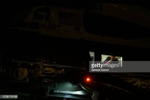President Donald Trump returns to the White House on Marine One after multiple campaign stops over the weekend on October 19, 2020 in Washington, DC....