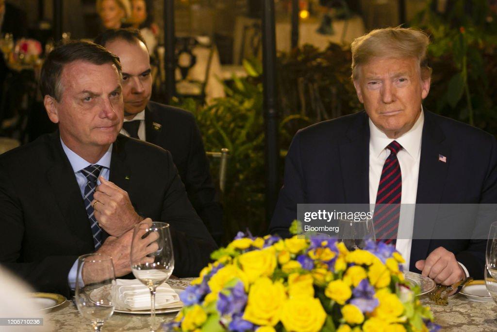 President Trump Hosts Brazilian President Bolsonaro At Mar-A-Lago : News Photo