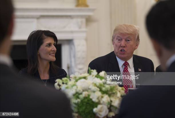 US President Donald Trump right and Nikki Haley US ambassador to the United Nations host a working lunch with members of the UN Security Council...