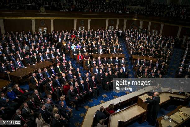 US President Donald Trump right delivers a State of the Union address to a joint session of Congress at the US Capitol in Washington DC US on Tuesday...