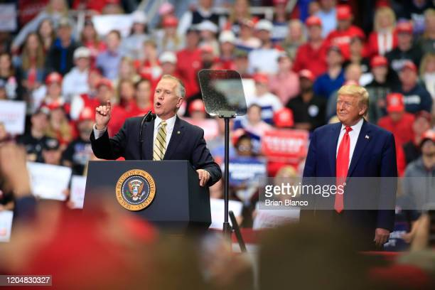 President Donald Trump, right, is joined by Senator Thom Tillis during a rally on March 2, 2020 in Charlotte, North Carolina. Trump was campaigning...