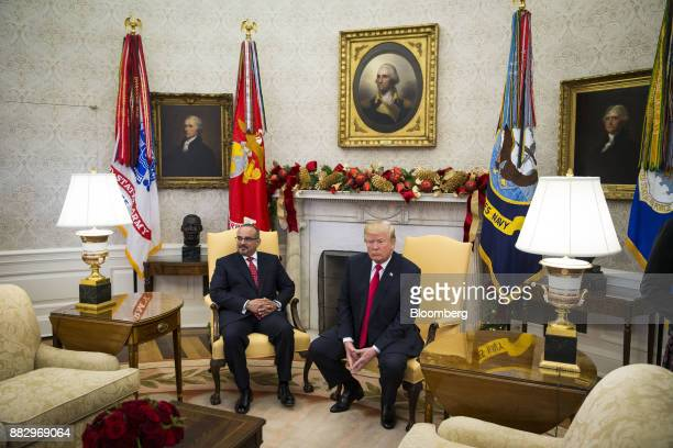 US President Donald Trump right sits with Salman bin Hamad AlKhalifa Crown Prince of Bahrain during a meeting in the Oval Office of the White House...
