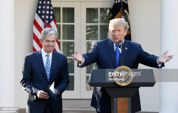 US President Donald Trump right speaks as Jerome Powell governor of the US Federal Reserve and President Donald Trump's nominee as chairman of the...