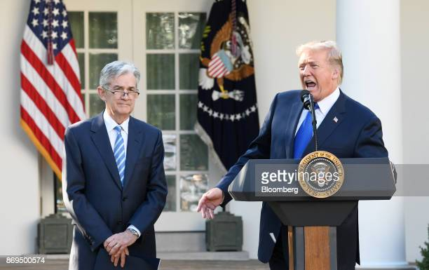 US President Donald Trump right speaks as Jerome Powell governor of the US Federal Reserve and Trump's nominee as chairman of the Federal Reserve...