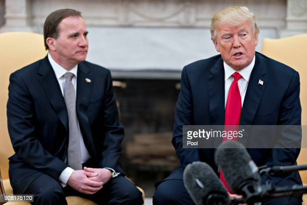 S President Donald Trump right speaks as Stefan Lofven Sweden's prime minister listens during a meeting in the Oval Office of the White House March 6...