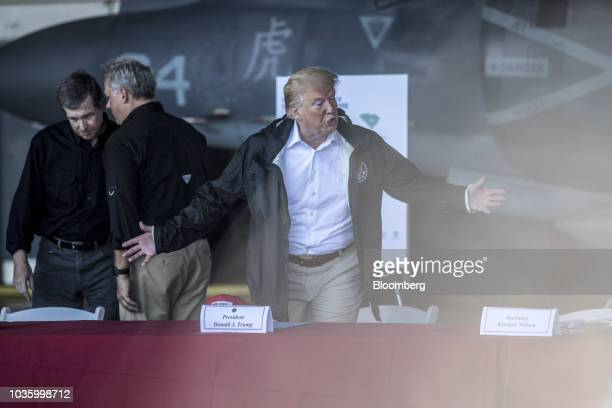 US President Donald Trump right speaks during a briefing at Marine Corps Air Station Cherry Point in Havelock North Carolina US on Wednesday Sept 19...