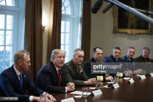 US President Donald Trump second left speaks as Patrick Shanahan acting US Secretary of Defense left and General Joseph Dunford chairman of the Joint...
