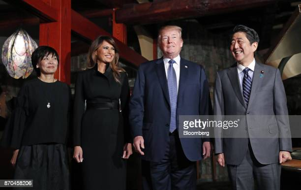 US President Donald Trump second right and Shinzo Abe Japan's prime minister right arrive with US First Lady Melania Trump second left and Akie Abe...