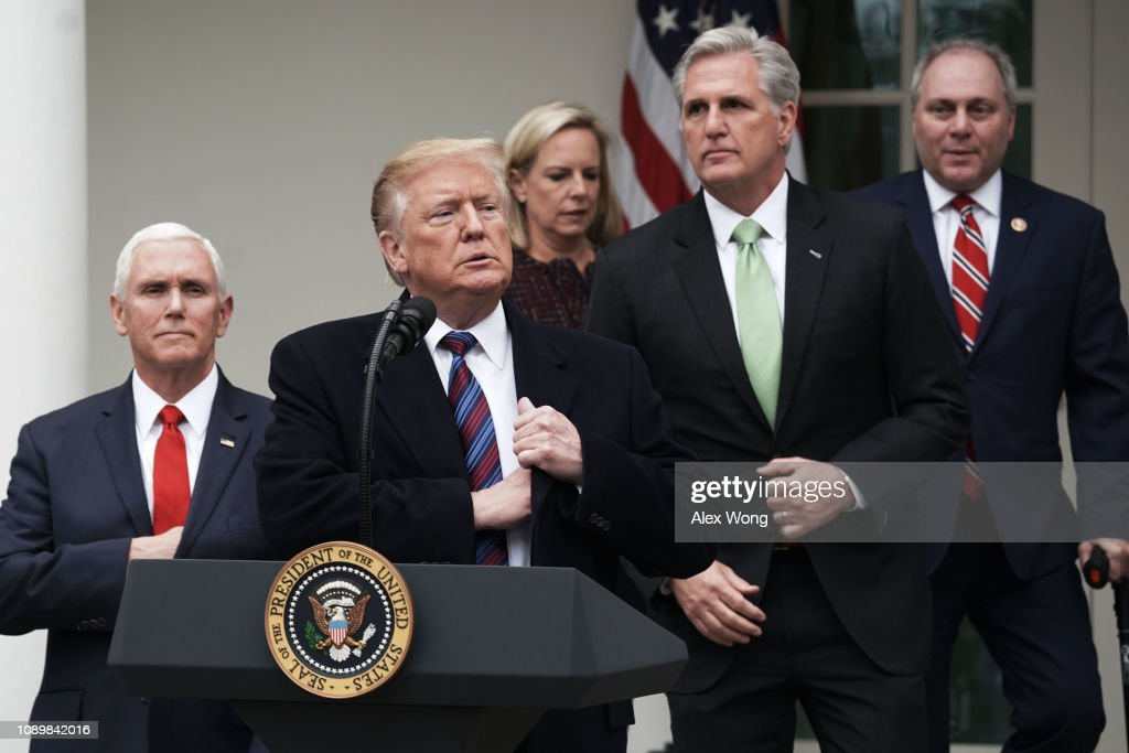 President Trump Speaks In The Rose Garden Of White House After Meeting With Congressional Leaders On Gov't Shutdown : News Photo