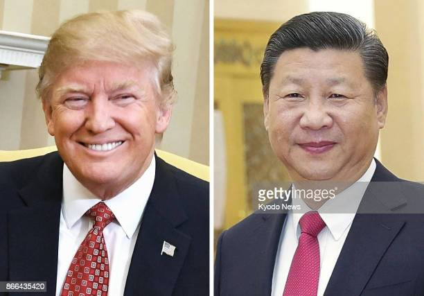 US President Donald Trump seen in this combined file photo congratulated Chinese President Xi Jinping in phone talks on Oct 25 on starting his second...