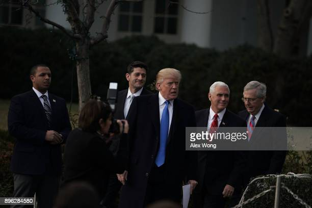 S President Donald Trump Senate Majority Leader Sen Mitch McConnell Vice President Mike Pence and Speaker of the House Rep Paul Ryan arrive at the...