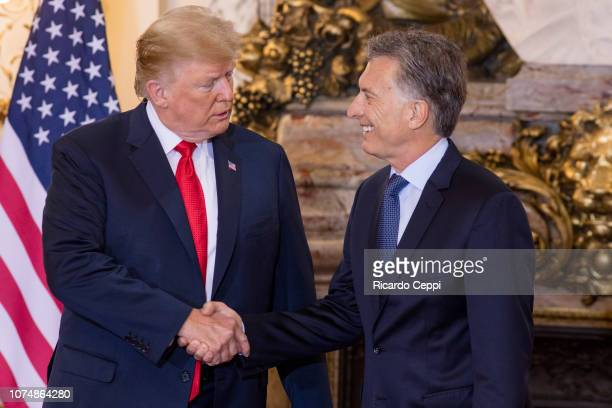 President Donald Trump shakes hand with President of Argentina Mauricio Macri during a meeting between the Presidents of Argentina and United States...