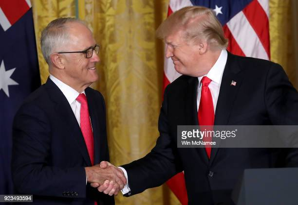 S President Donald Trump shakes hands with Australian Prime Minister Malcolm Turnbull during a joint press conference at the White House February 23...