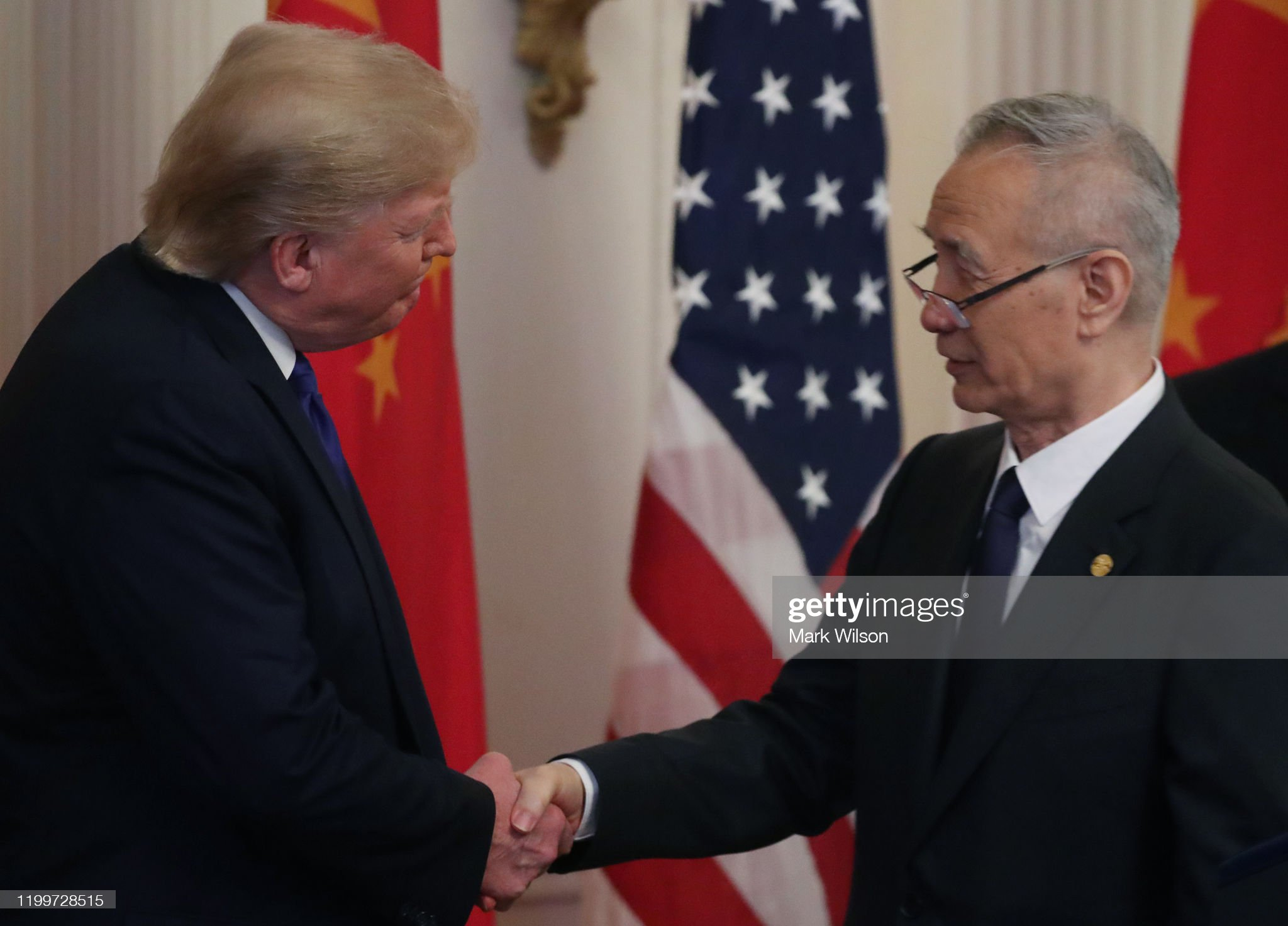 President Trump Participates In Signing Ceremony For Trade Deal With China : News Photo