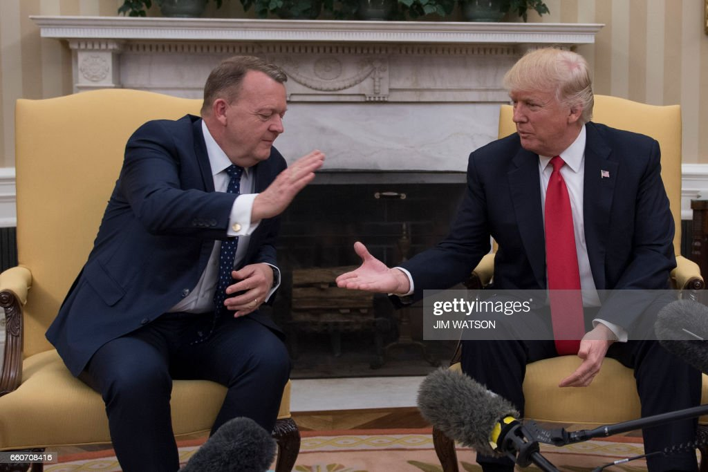 US President Donald Trump shakes hands with Danish Prime Minister Lars Lokke Rasmussen at the White House in Washington, DC, March 30, 2017. /