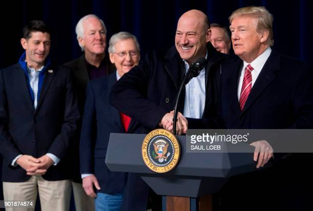 US President Donald Trump shakes hands with Gary Cohn Director of the National Economic Council during a retreat with Republican lawmakers and...