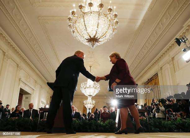 S President Donald Trump shakes hands with Prime Minister Erna Solberg of Norway during a news conference at the White House on January 10 2018 in...