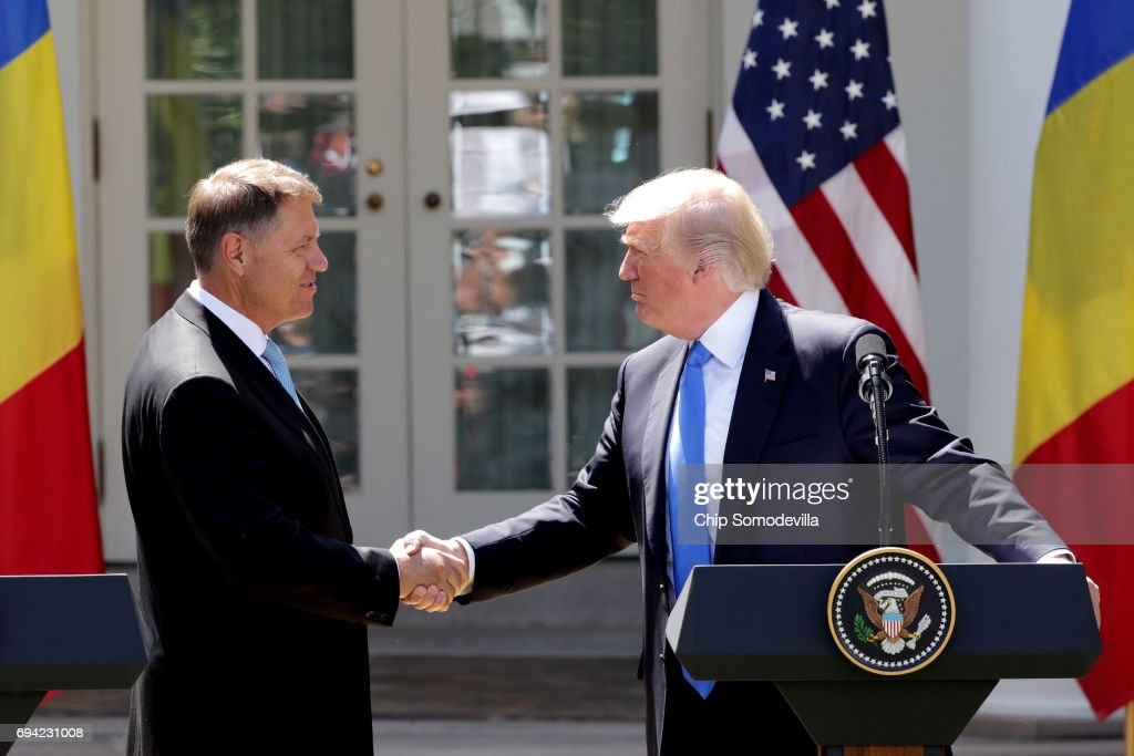 President Trump Holds News Conference With President Of Romania Klaus Iohannis : News Photo