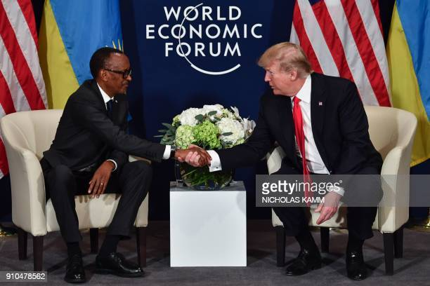 US President Donald Trump shakes hands with Rwandan President President Paul Kagame during a bilateral meeting on the sideline of the annual meeting...