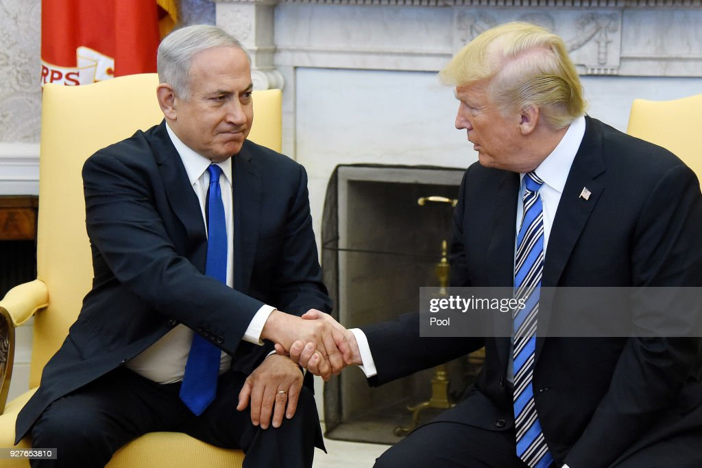 President And Mrs Trump Welcome Israeli PM Netanyahu To White House : News Photo