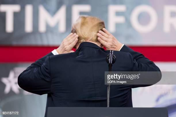 President Donald Trump showng off his hair at the Conservative Political Action Conference sponsored by the American Conservative Union held at the...