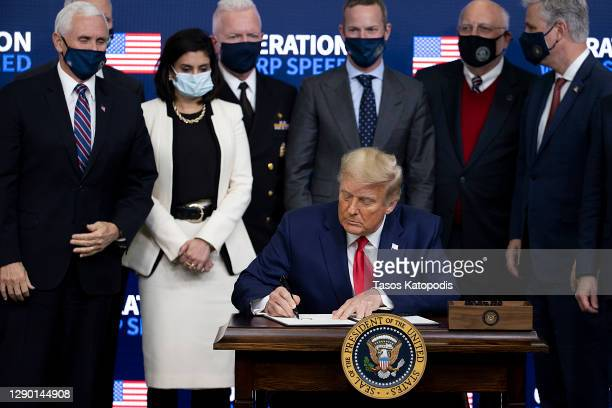 President Donald Trump signed an executive at the Operation Warp Speed Vaccine Summit on December 08, 2020 in Washington, DC. The president signed an...
