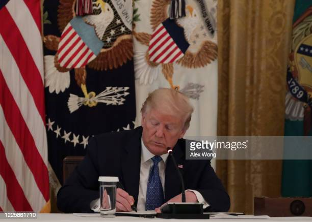 President Donald Trump signs a signed the executive order on DOT deregulation, during a meeting with his cabinet in the East Room of the White House...