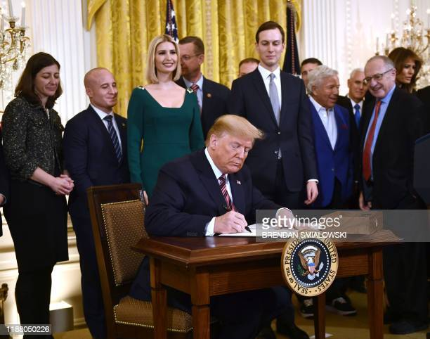 US President Donald Trump signs an Executive Order to further the fight against the rise of antiSemitism in the US at a Hanukkah reception at the...
