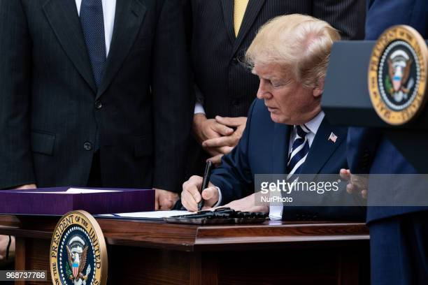 60 Top President Trump Holds Signing Ceremony For Veteran