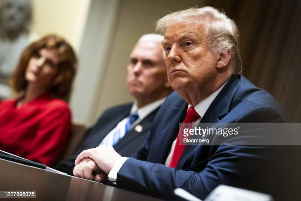 US President Donald Trump sits during a meeting in the Cabinet Room of the White House in Washington DC US on Monday Aug 3 2020 Trumpsaid ByteDance...