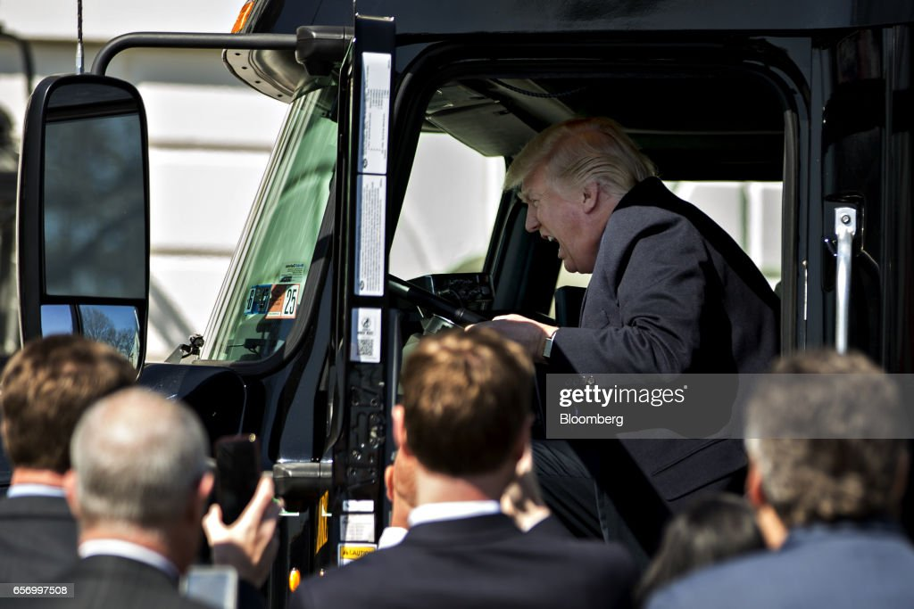 President Trump Meets With Trucking Company Executives And Drivers : News Photo