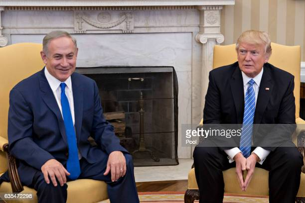 US President Donald Trump sits with Israel Prime Minister Benjamin Netanyahu in the Oval Office of the White House on February 15 2017 in Washington...