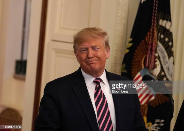 US President Donald Trump smiles after speaking during an event at the White House in Washington DC US on Thursday Feb 6 2020 Trump's acquittal by...