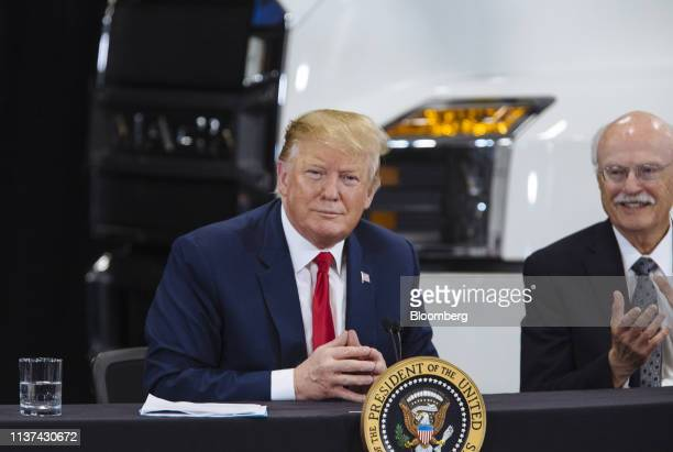 US President Donald Trump smiles during a roundtable discussion on the economy and tax reform in Burnsville Minnesota US on Monday April 15 2019...