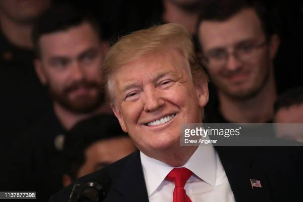 S President Donald Trump smiles during an event recognizing the Wounded Warrior Project Soldier Ride in the East Room of the White House April 18...