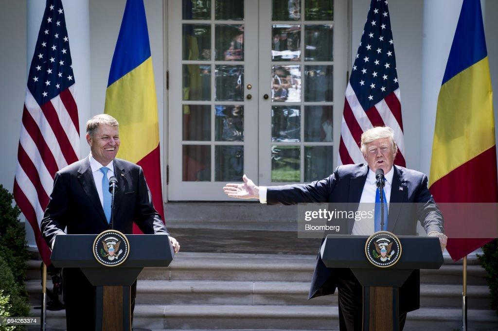 President Trump Hosts Romanian President Klaus Iohannis At White House : News Photo