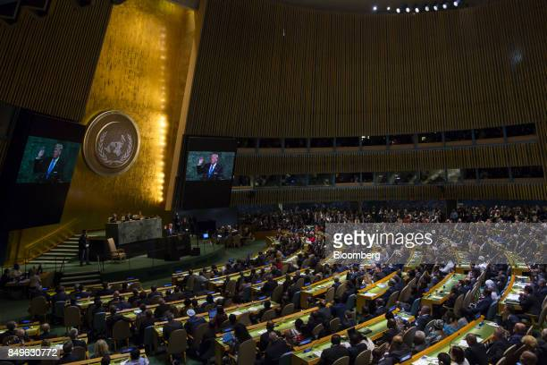 US President Donald Trump speak during the UN General Assembly meeting in New York US on Tuesday Sept 19 2017 Trumptold world leaders in his first...
