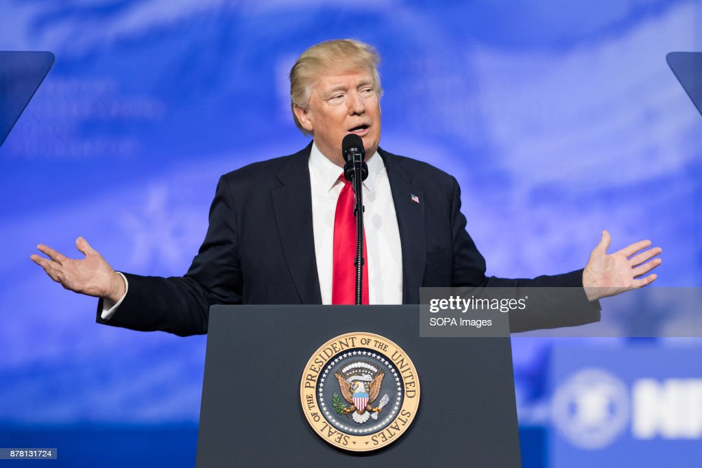 President Donald Trump speaking at the American Conservative... : News Photo
