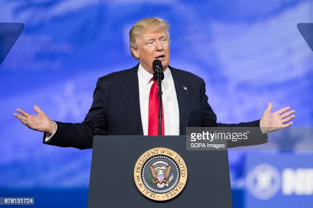 President Donald Trump speaking at the American Conservative Union's 2017 Conservative Political Action Conference