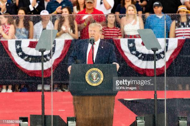 President Donald Trump speaking at the National Mall in Washington DC during the Independence Day on July 4