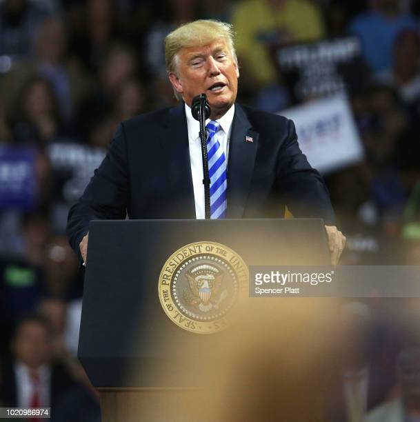 President Donald Trump speaks a rally at the Charleston Civic Center on August 21 2018 in Charleston West Virginia Paul Manafort a former campaign...