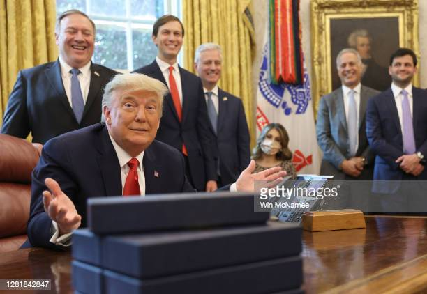 President Donald Trump speaks about a Sudan-Israel peace agreement, in the Oval Office on October 23, 2020 in Washington, DC. President Trump...