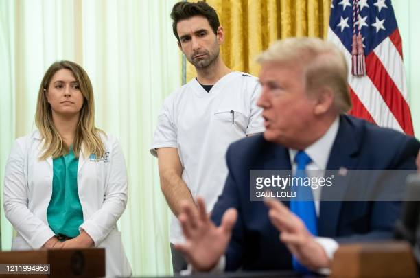 US President Donald Trump speaks about COVID19 known as coronavirus after signing a Proclamation in honor of National Nurses Day in the Oval Office...
