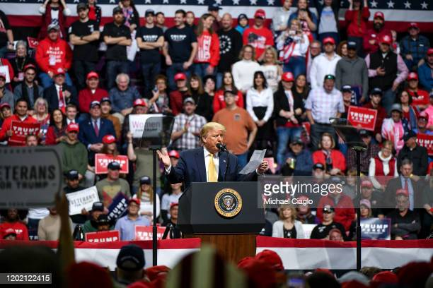 President Donald Trump speaks about his debate performance statistics to supporters during a Keep America Great rally on February 20 2020 in Colorado...